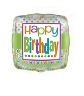 "18"" Polka Dots Happy Birthday Balloon"