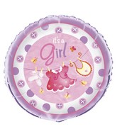 "18"" It&#39s A Girl Pink Clothing Balloon"