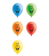 "10"" Party Faces Latex Light Up Airfill Balloons 5 Count"