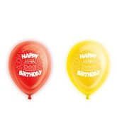 "10"" Happy Birthday Latex Light Up Airfill Balloons 5 Count"