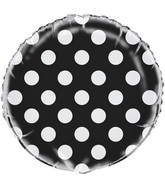 "18"" Packaged Black Polka Dots Balloon"
