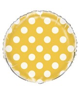 "18"" Packaged Sunflower Yellow Polka Dots Balloon"