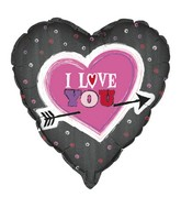 "18"" I Love You Arrow Heart Foil Balloon"