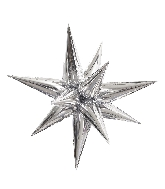 "40"" Silver Jumbo Star-Burst Balloon Airfill Only"