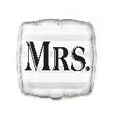 "18"" Square Foil Balloon Bulk - Silver ""Mrs."""