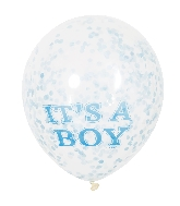 "6 Count It's A Boy Clear 12"" Balloons with Paper Confetti"