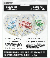 "6 Count Happy Birthday 12"" Balloons with confetti paper"