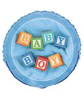 "18"" Baby Boy Blocks Foil Balloon Packaged"