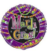 "18"" Mardi Gras Beads Foil Balloon Packaged"