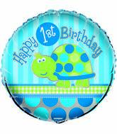 "18"" First Birthday Turtle Foil Balloon Packaged"