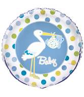"18"" Baby Boy Stork Foil Balloon"