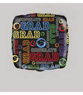 "18"" Packaged Grad Square Foil Balloon"