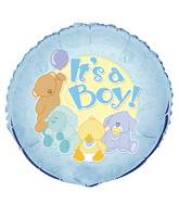 "18"" It&#39s A Boy Baby Animals Foil Balloon"
