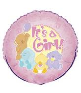 "18"" It&#39s A Girl Baby Animals Foil Balloon"