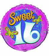"18"" Sweet 16 Butterflies Foil Balloon"