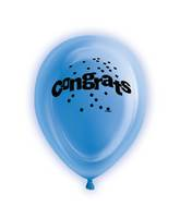 "10"" 5 Count Congrats Light Up Balloons One Sided"