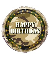 "18"" Foil Balloon Happy Birthday Military Camo"