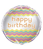 "18"" Foil Balloon Happy Birthday Rainbow Chevron"