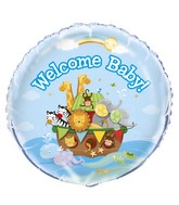 "18"" Foil Balloon Welcome Baby Noah's Ark"