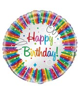 "18"" Foil Balloon Happy Birthday Rainbow Ribbons"