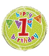 "18"" Foil Balloon Polka Dot Birthday 1st"