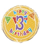 "18"" Foil Balloon Polka Dot Birthday 3rd"