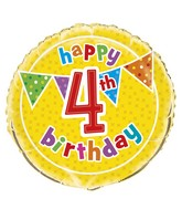 "18"" Foil Balloon Polka Dot Birthday 4th"