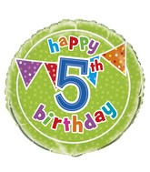 "18"" Foil Balloon Polka Dot Birthday 5th"
