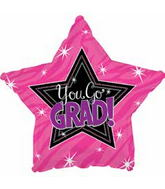 "18"" You Go Grad Pink Balloon"