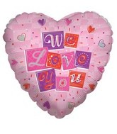 "18"" We Love You Boxes Pink Balloon"