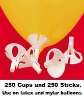 E-Z Balloon Cups & Sticks 250 white