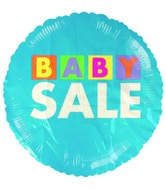 "18"" Baby Sale Squares Blue balloon"