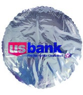 "18"" US Bank 5 Star Guaranteed Silver Promotional Balloon"