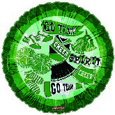 "18"" Pretty Sporty Chear Spirt Go Team Green Balloon"