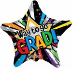 "18"" Balloon Way To Go Grad Prismatic"