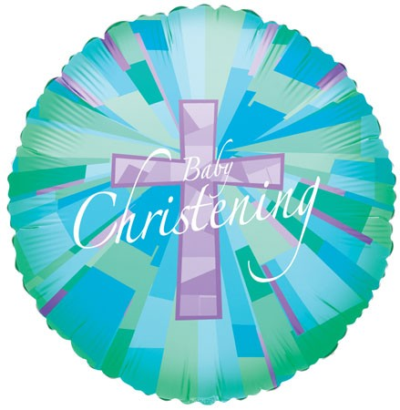 "18"" Christening Boy Stained Glass Holo"