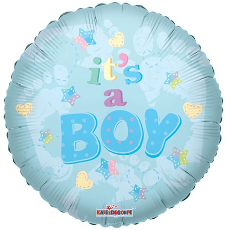 "18"" Baby Boy Foot Prints Mylar Balloon"