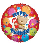"18"" Happy 1st Birthday Bear Balloon"