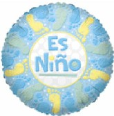 "9"" Airfill Es Nino Baby Boy Footprints"