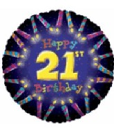 "18"" Happy 21st Birthday Candle Boarder Balloon"