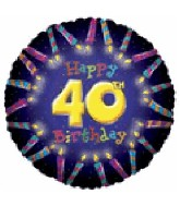 "18"" Happy 40th Birthday Candle Boarder Balloon"