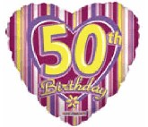 "18"" 50th Birthday Striped Heart Balloon"