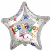 "18"" Teenager Silver Star Mylar Balloon"