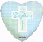 "9"" Airfill Baptism Boy Cross Balloon"