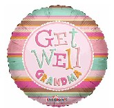 "18"" Get Well Grandma Pink Stripes"