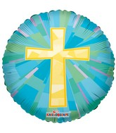 "18"" Gold Cross Mylar Balloon"