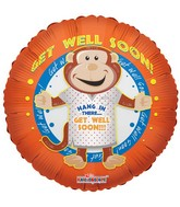 "18"" Get Well Soon Monkey Mylar Balloon"