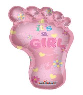 "36"" Baby Girl Foot Print Shape Mylar Balloon"