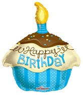 "18"" Happy Birthday Blue Cupcake Balloon"