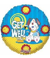 "18"" Get Well Dog and Bee Cartoon Balloon"